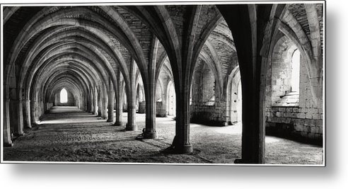 Fountains Abbey Metal Print featuring the photograph Stone Arches by Michael Hudson