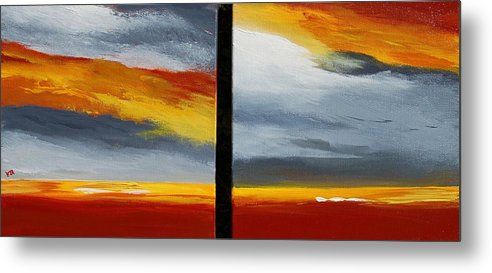 Abstract Metal Print featuring the painting Abstract Landscape 17 by Veronique Radelet