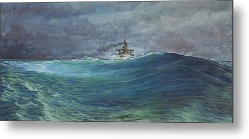 Seascape Metal Print featuring the painting Great White Fleet In A Squall by Stephen Bluto
