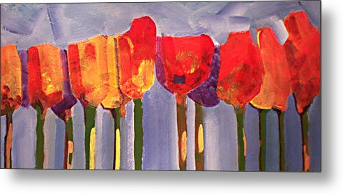 Floural Metal Print featuring the painting Morning Tulips by Dalas Klein