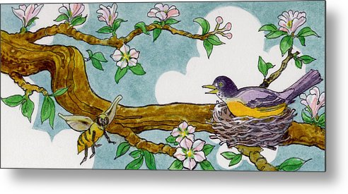 Birds Metal Print featuring the painting Robin Nest by Lash Larue