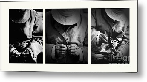 Rollup Rolling Cigarette Smoker Smoking Man Hat Monochrome Metal Print featuring the photograph Rolling His Own by Sheila Smart Fine Art Photography