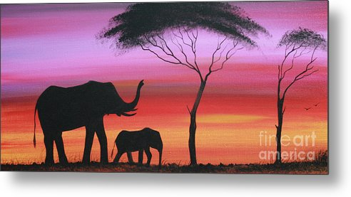 Painting Metal Print featuring the painting Tembo by Abu Artist