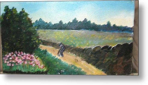 Art Metal Print featuring the painting Walking To Town by Anne-Elizabeth Whiteway