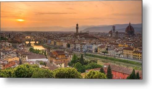 Florence Metal Print featuring the photograph Florence Sunset by Mick Burkey