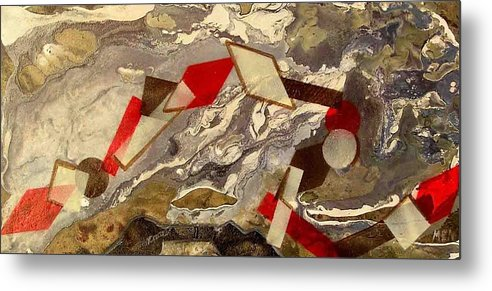 Metal Print featuring the painting Geometrical Rope by Evguenia Men