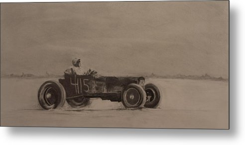 Racing Metal Print featuring the drawing Bonniville by John C