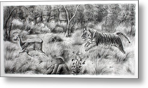 Tigers Metal Print featuring the painting Chess by Navratan