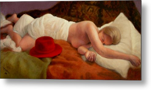 Realism Metal Print featuring the painting Red Hat 7 by Donelli DiMaria