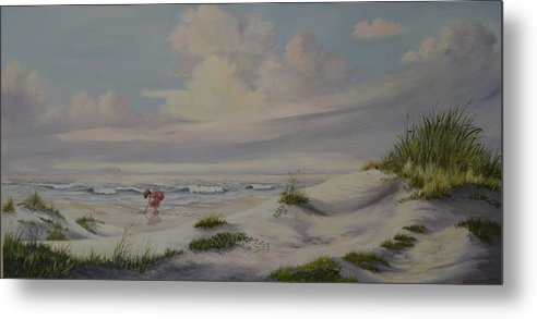 Landscape Metal Print featuring the painting Shadows In The Sand Dunes by Wanda Dansereau