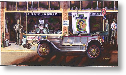 Beaver Six Car Automobile Classic Gresham Tin Lizzy Main Street Hardware Store Dealer Antique Metal Print featuring the painting The Beaver Six by Mike Hill
