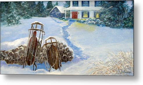 Winter;sleds;snow;after Dark;farmhouse;window Lights;logs;sled Riding; Memories; Metal Print featuring the painting When We Were Young by Lois Mountz