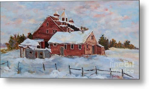 Nh Metal Print featuring the painting Winter Silence by Alicia Drakiotes