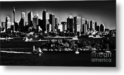 Sydney Harbour Monochrome Metal Print featuring the photograph Sydney Harbour Monochrome by Sheila Smart Fine Art Photography