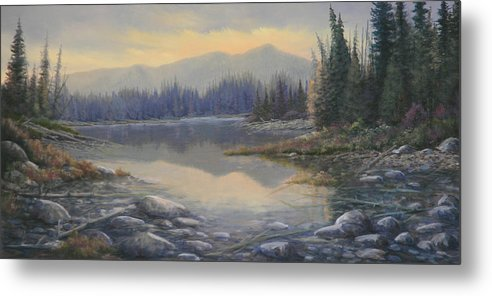 Rocky Mountains Metal Print featuring the painting 100408-1224 Evening Serenity by Kenneth Shanika