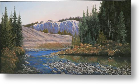 Rocky Mountains Metal Print featuring the painting 100409-1224 Rocky Creek Reflections by Kenneth Shanika
