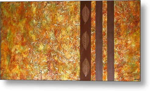 Texture Metal Print featuring the painting Autumn Harvest by Sophia Elise
