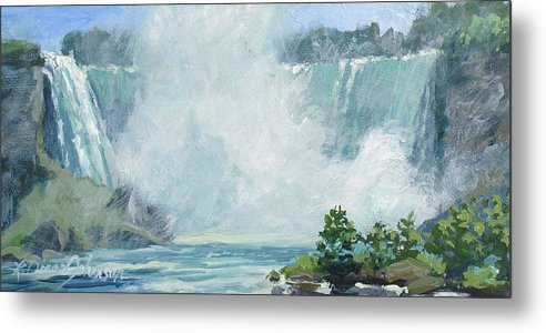 Niagara Falls Metal Print featuring the painting Crystal Mist by L Diane Johnson