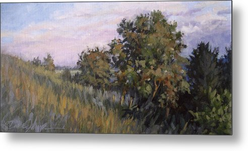Tree Hillside Landscape Metal Print featuring the painting Dew On Dusk - Giverny France by L Diane Johnson