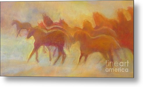 Horses Metal Print featuring the painting Foolin Around I by Kip Decker