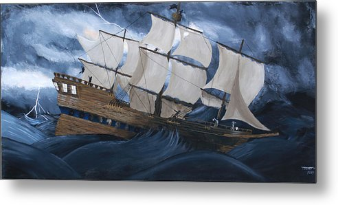 Ship Metal Print featuring the painting Fury by Tammy Dunn
