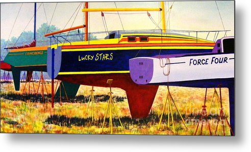 Blue Metal Print featuring the painting Lure Of The Sea by Hugh Harris