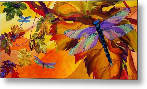 Dragonfly Metal Print featuring the painting Morning Dawn by Karen Dukes