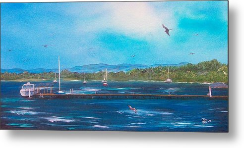 Seascape Metal Print featuring the painting Private Dock by Tony Rodriguez