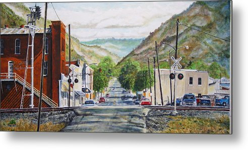 Appalachia Metal Print featuring the painting Rainbow In Rust by Thomas Akers