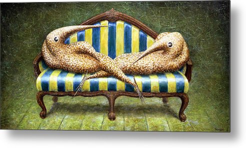 Sofa Metal Print featuring the painting Siamese Twins by Lolita Bronzini