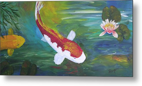Koi Metal Print featuring the painting Two Koi And Water Lily by Barbara Harper