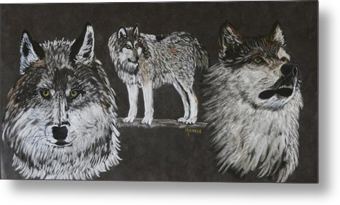 Wolf Metal Print featuring the pastel Watchful Eyes by Michele Turney