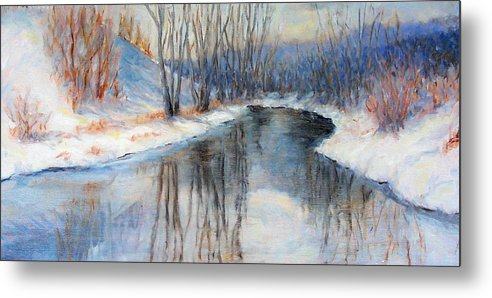 Winter Metal Print featuring the painting Winter Reflection by Ruth Mabee