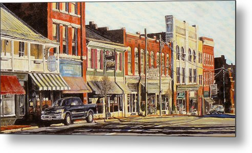City Scene Metal Print featuring the painting Sunday Morning by Thomas Akers