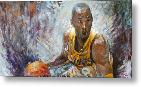 Lakers Metal Print featuring the painting Nba Lakers Kobe Black Mamba by Ylli Haruni