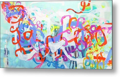 Abstract Metal Print featuring the painting Under The Electric Candelabra by Claire Desjardins