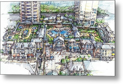 Architectural Study Metal Print featuring the drawing Condominium by Andrew Drozdowicz