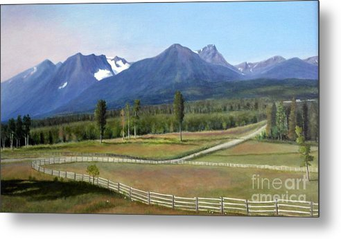 Landscape In Bc Metal Print featuring the painting Near Smithers Bc by Al Hunter