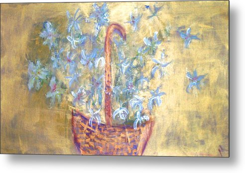 Floral Metal Print featuring the painting Wicker Basket Of Garden Flowers by Michela Akers