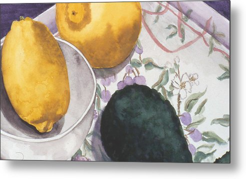 Still-life Metal Print featuring the painting Lemons And Avocado Still-life by Caron Sloan Zuger