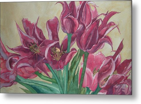 Watercolor Metal Print featuring the painting Mini-tulip Bouquet - 8 by Caron Sloan Zuger