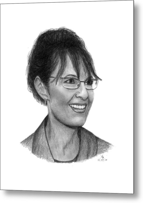 Palin Metal Print featuring the drawing Gop Vp Candidate Sarah Palin by Charles Vogan