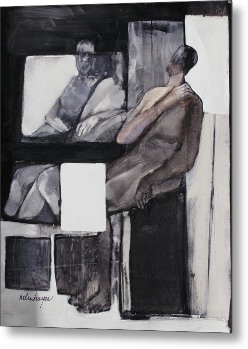 Figures Metal Print featuring the painting White Square by Helen Hayes
