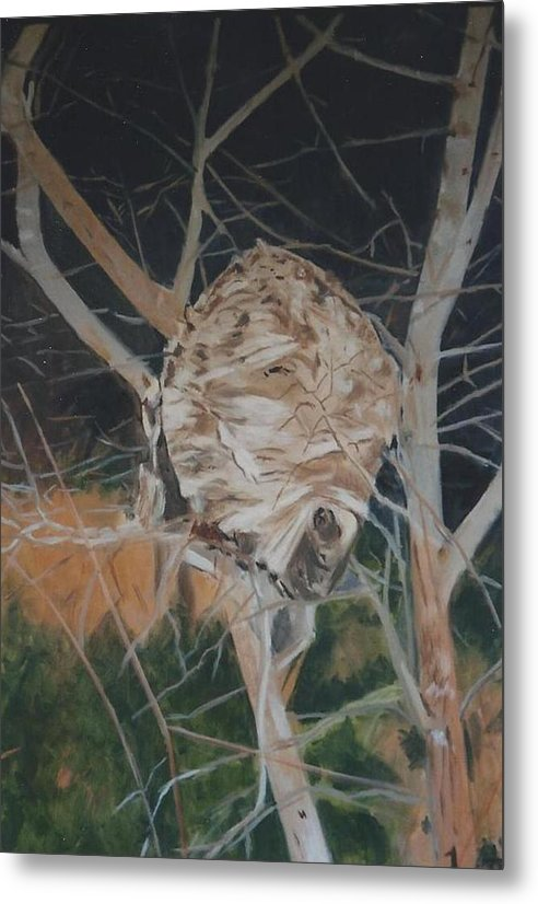 Hornets Metal Print featuring the painting Hornet's Nest by Terry Forrest