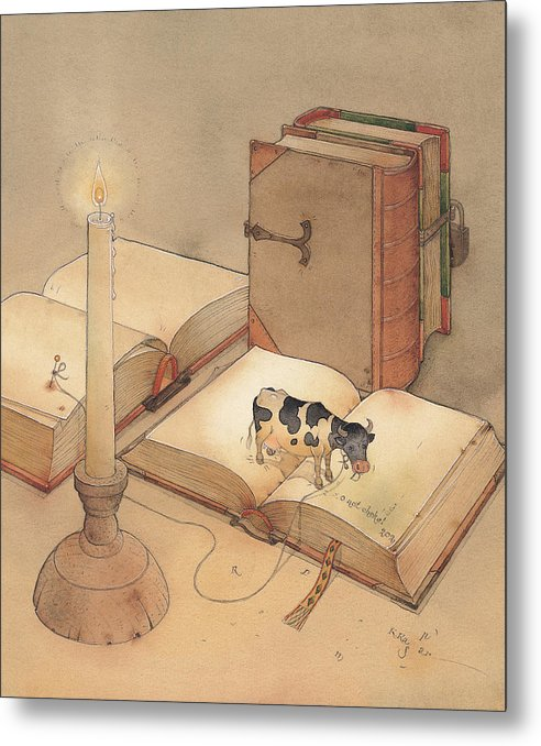 Science Books Cow Candle Reading Metal Print featuring the painting Bookish Cow by Kestutis Kasparavicius