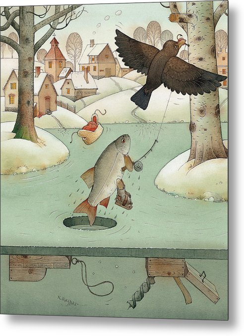 Landscape Winter Fishing Crow Metal Print featuring the painting Fishing by Kestutis Kasparavicius