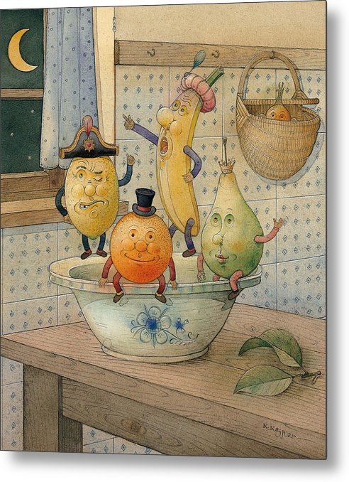 Night Moon Fruits Kitchen Metal Print featuring the painting Fruits by Kestutis Kasparavicius
