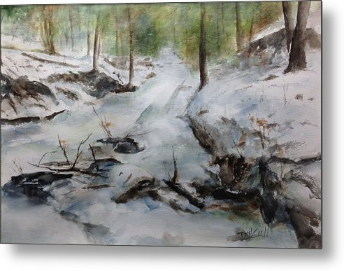 Landscape Metal Print featuring the painting Frozen Creek by Don Cull