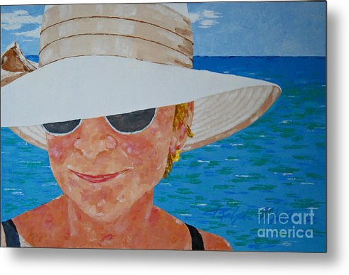 Realistic Metal Print featuring the painting Nice Hat by Art Mantia