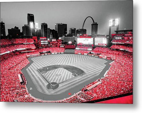 Stadium Of Red - Cardinals Baseball Park And St Louis Skyline In Selective Color by Gregory Ballos